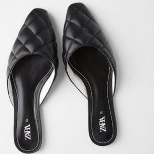 NWT Zara Black Faux Leather Quilted Mules